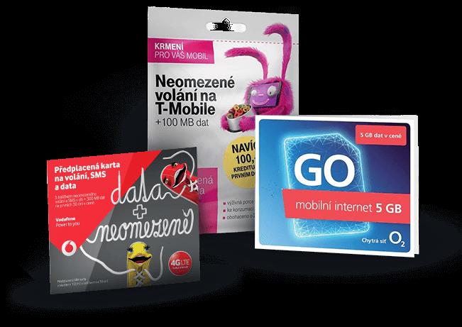 Prodej předplacených karet O2, Vodafone, T-mobile